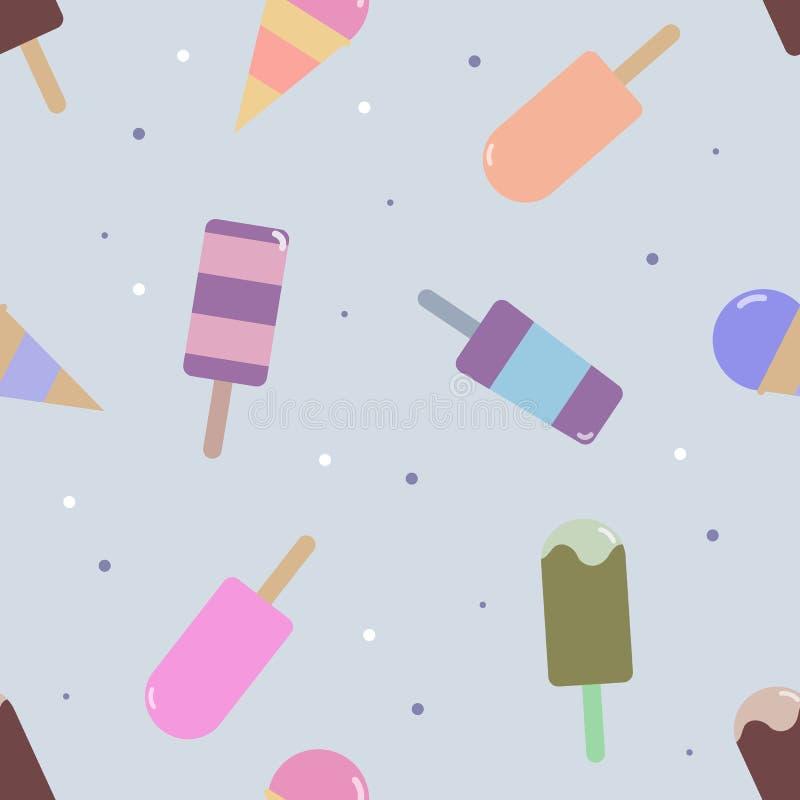 Картина вектора безшовная с мороженным бесплатная иллюстрация