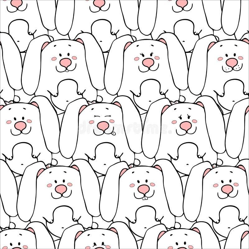 Картина вектора безшовная с нарисованными вручную смешными милыми жирными животными Силуэты животных на белой предпосылке Текстур иллюстрация штока