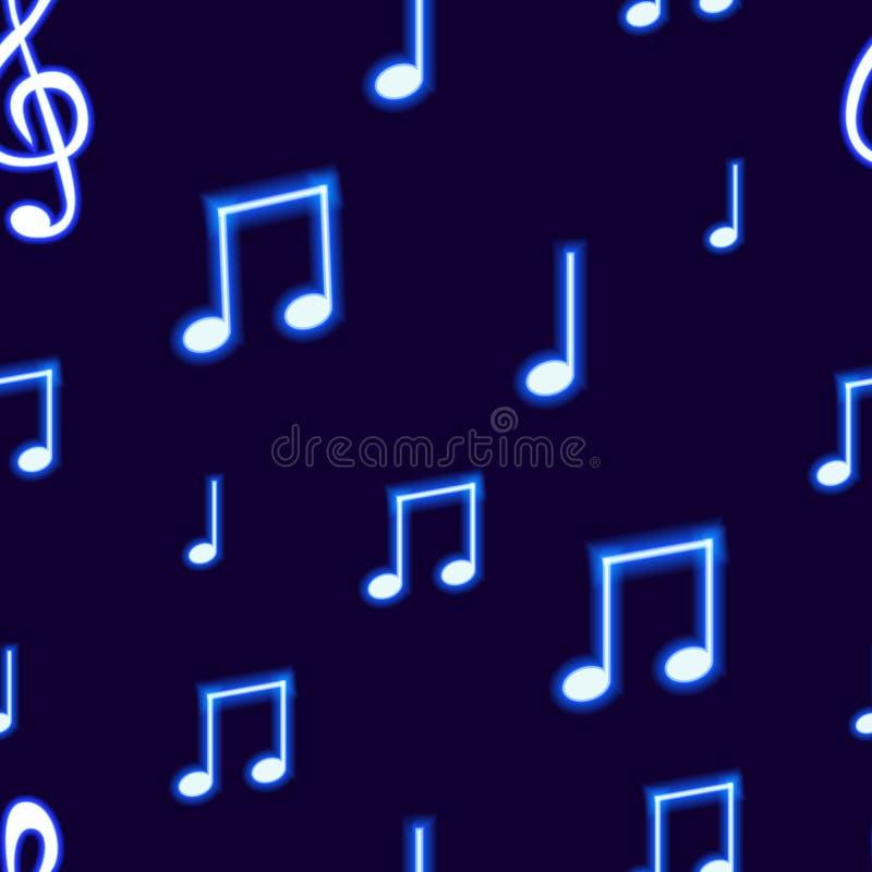 Картина вектора безшовная с неоновыми голубыми музыкальными примечаниями на темной предпосылке, абстрактном шаблоне фона иллюстрация вектора