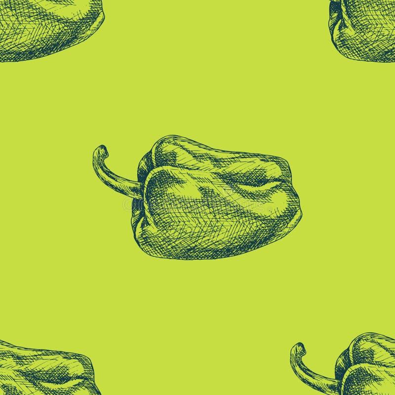 Картина вектора безшовная с перцем цвета Текстура нарисованная рукой с зеленой паприкой Vegetable иллюстрация иллюстрация штока