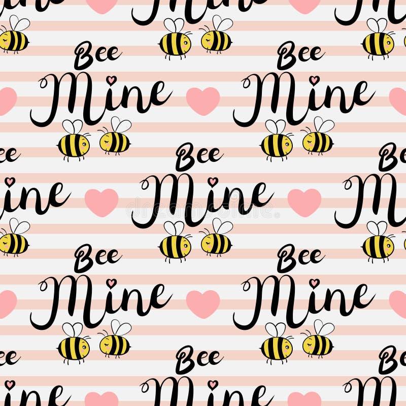 Картина вектора безшовная с пчелами в влюбленности Текст шахты пчелы иллюстрация штока