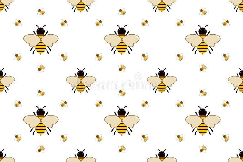 Картина вектора безшовная с пчелами иллюстрация вектора