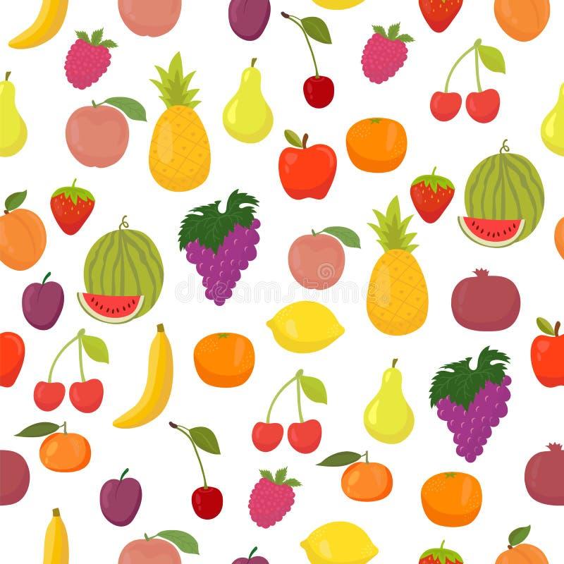 Картина вектора безшовная с плодоовощами еда здоровая иллюстрация штока