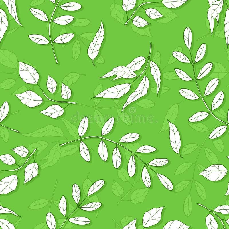 Картина вектора безшовная с различными абстрактными листьями предпосылка с тенями зеленых листьев иллюстрация штока