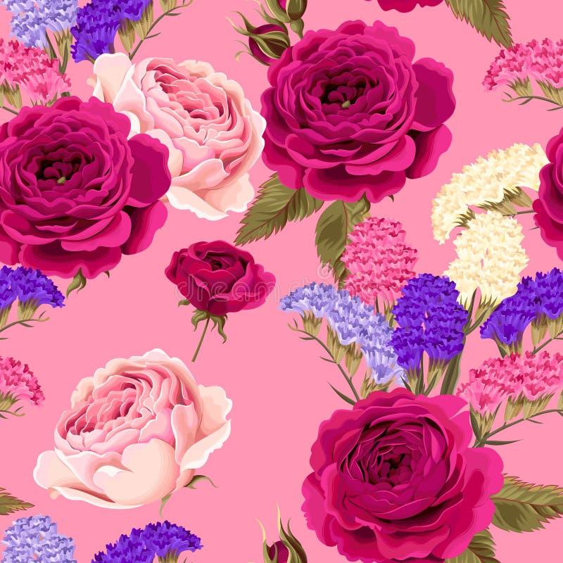 Картина вектора безшовная с розами и сухими цветками иллюстрация вектора