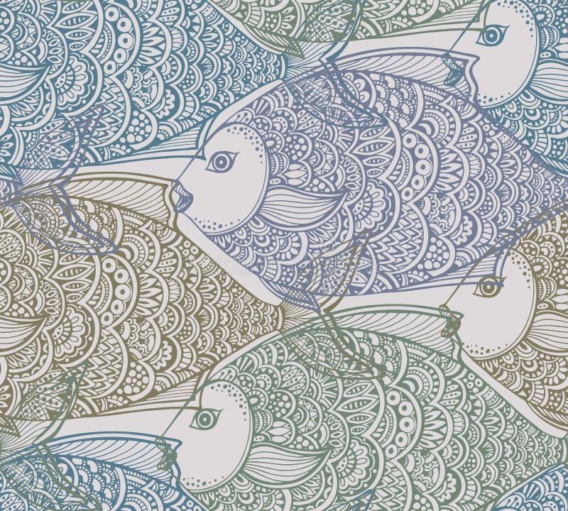 Картина вектора безшовная с рыбами нарисованными рукой бесплатная иллюстрация