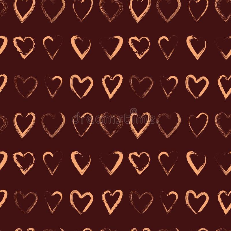 Картина вектора безшовная с сердцами щетки стоковая фотография rf