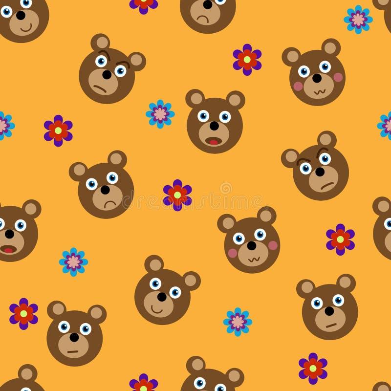 Картина вектора безшовная с смешными медведями бесплатная иллюстрация
