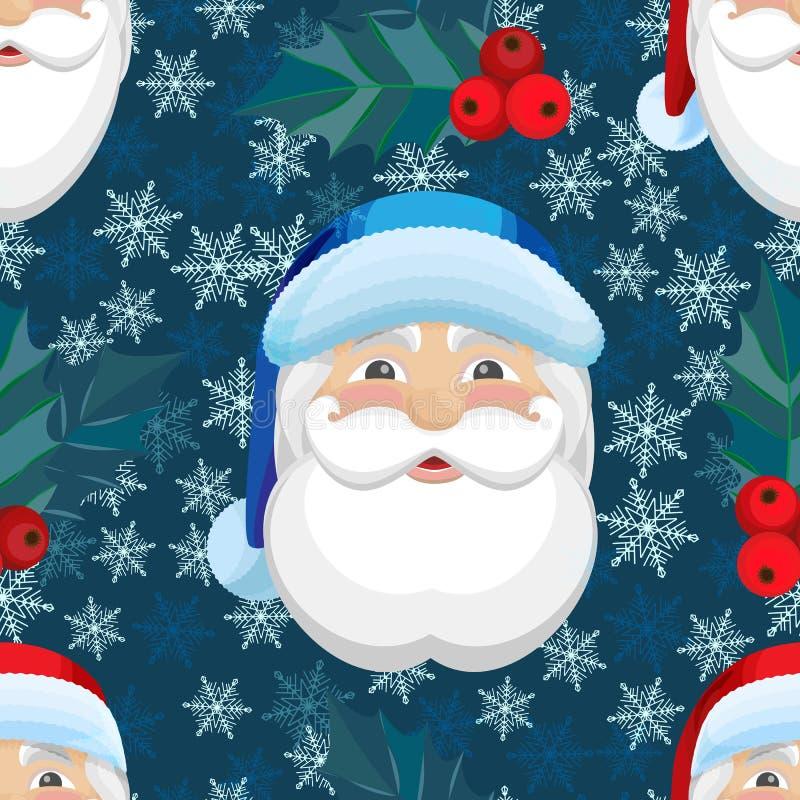 Картина вектора безшовная с снежинками и Санта Клаусом бесплатная иллюстрация