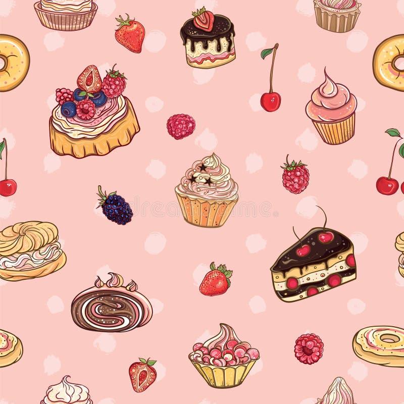 Картина вектора безшовная с тортами, печеньями бесплатная иллюстрация