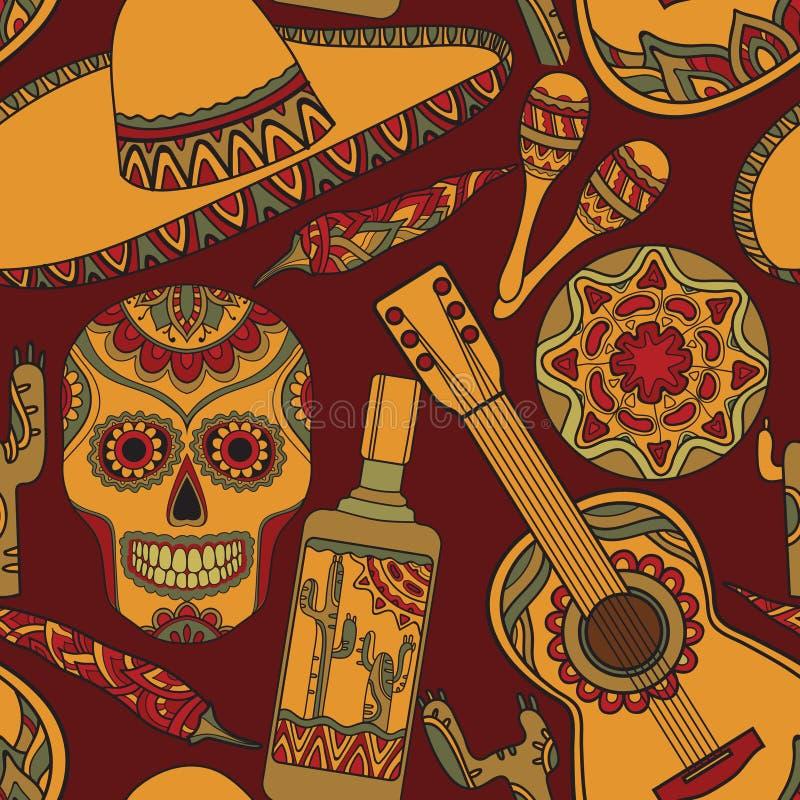 Картина вектора безшовная с традиционными мексиканскими символами иллюстрация вектора