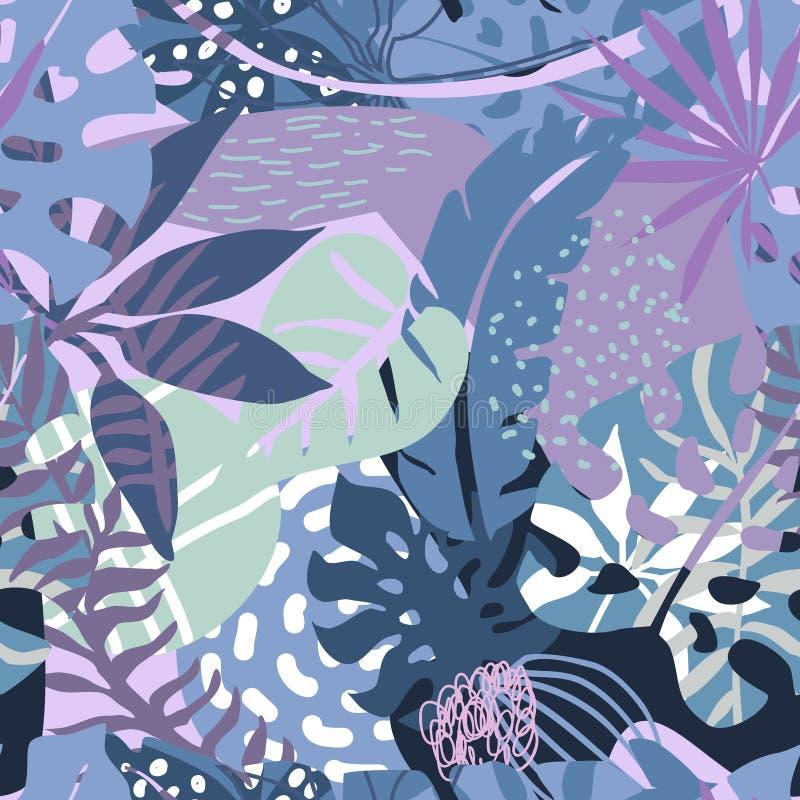 Картина вектора безшовная с тропическими заводами и вручить вычерченные абстрактные текстуры иллюстрация штока