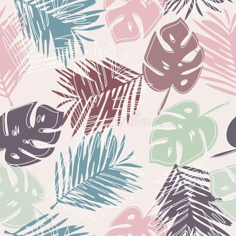 Картина вектора безшовная с тропическими листьями бесплатная иллюстрация