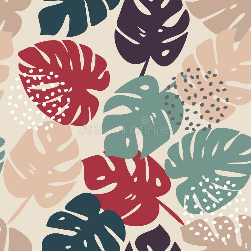 Картина вектора безшовная с тропическими листьями иллюстрация штока