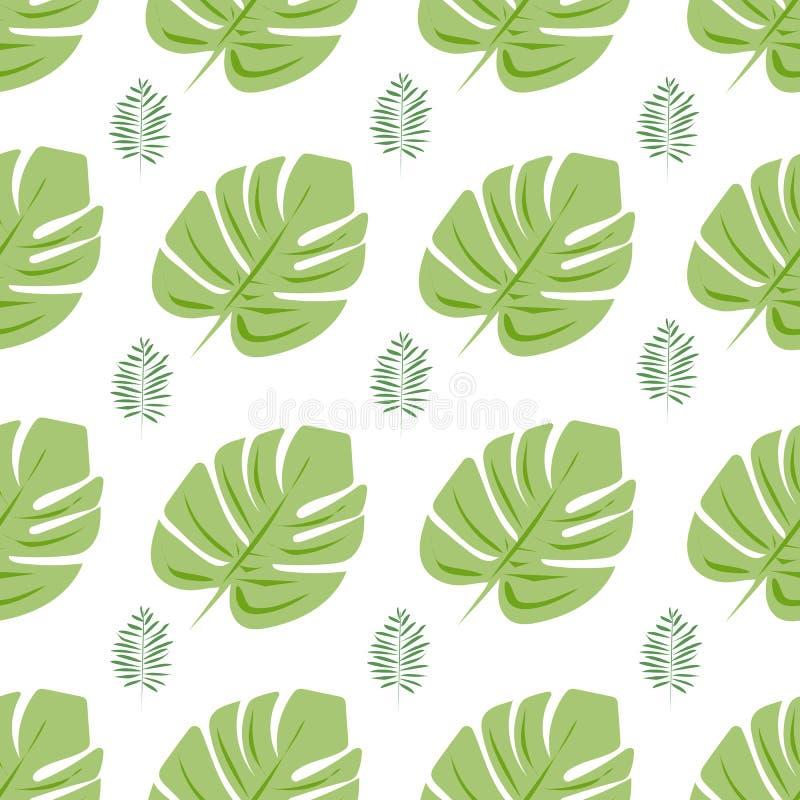 Картина вектора безшовная с тропическими листьями o иллюстрация вектора