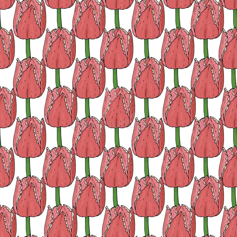 Картина вектора безшовная с тюльпаном иллюстрация штока