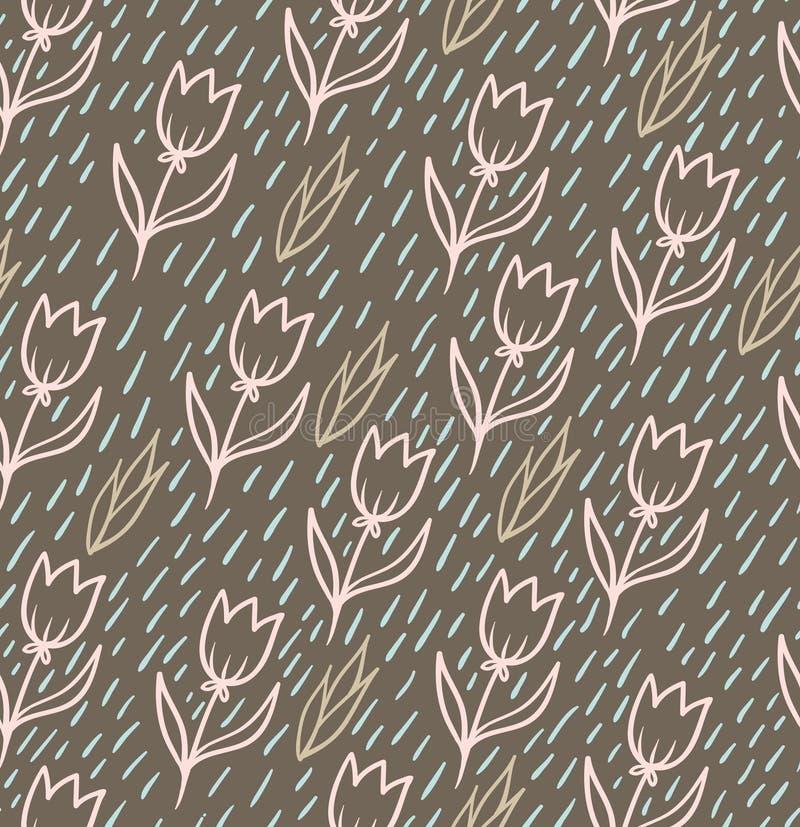 Картина вектора безшовная с тюльпанами иллюстрация вектора