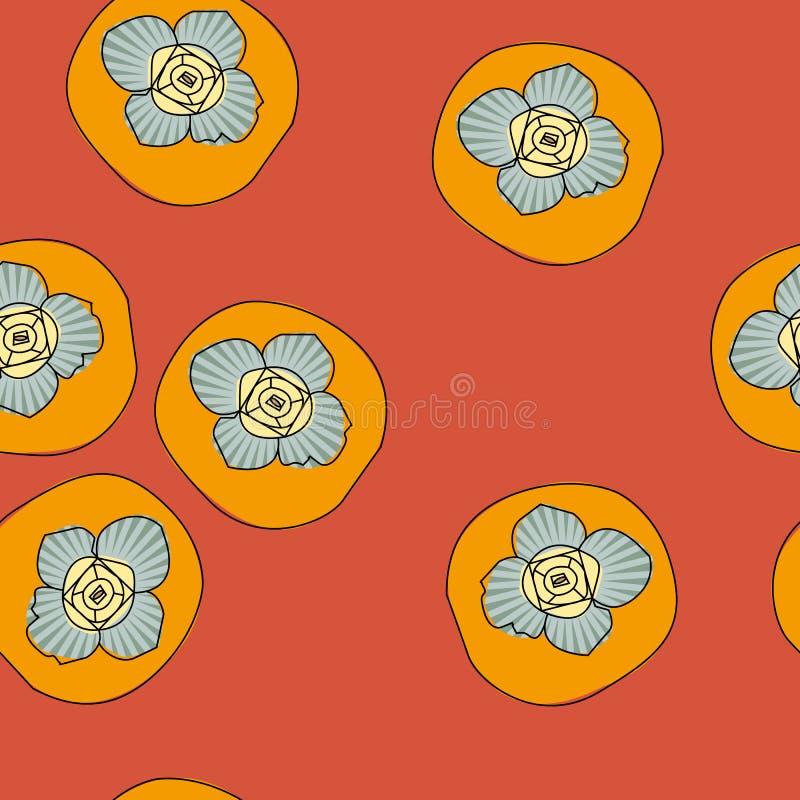 Картина вектора безшовная с хурмой стоковые изображения rf