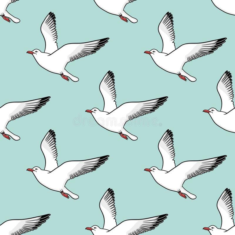 Картина вектора безшовная с чайками бесплатная иллюстрация