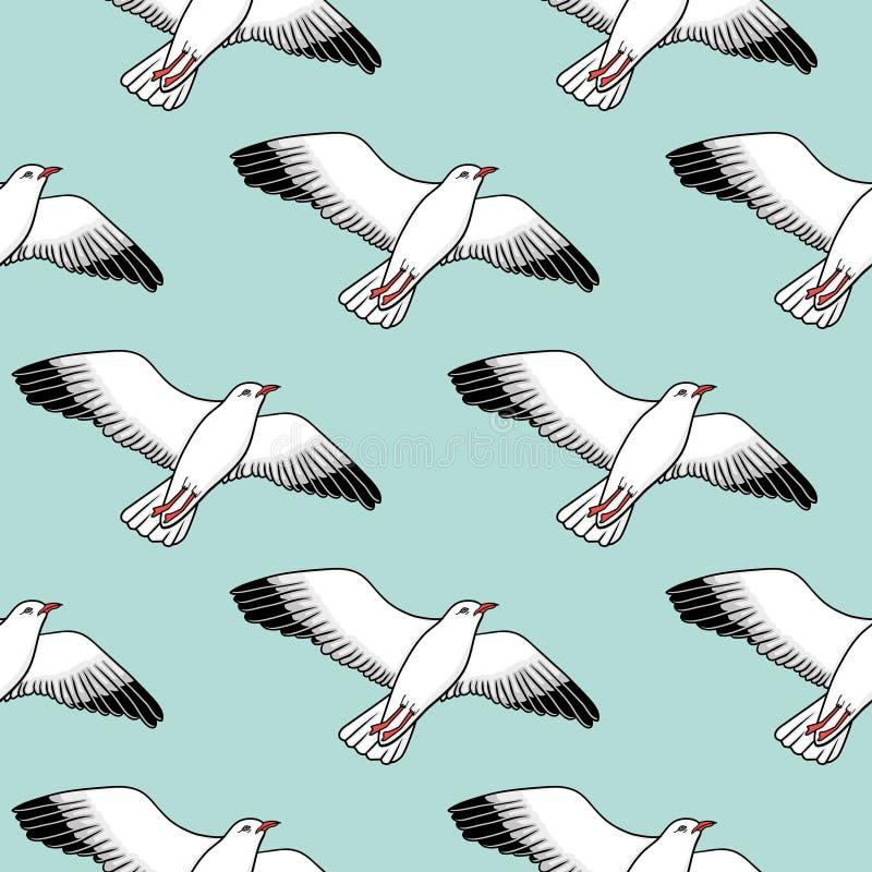 Картина вектора безшовная с чайками иллюстрация вектора
