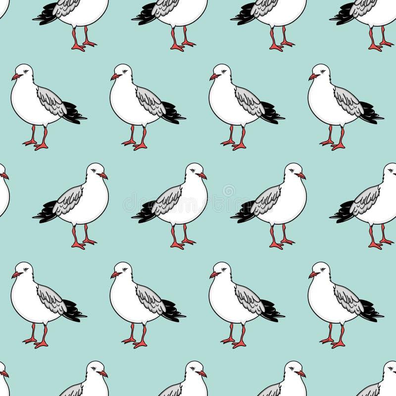 Картина вектора безшовная с чайками иллюстрация штока