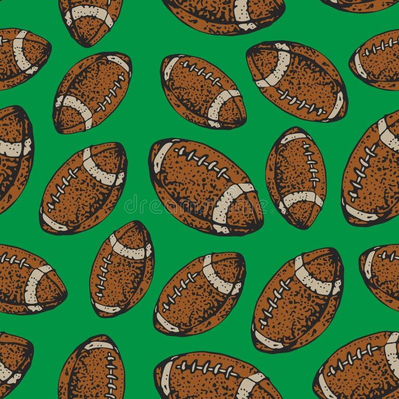 Картина вектора безшовная с шариками американского футбола Спорт рэгби Предпосылка стиля шаржа иллюстрация вектора