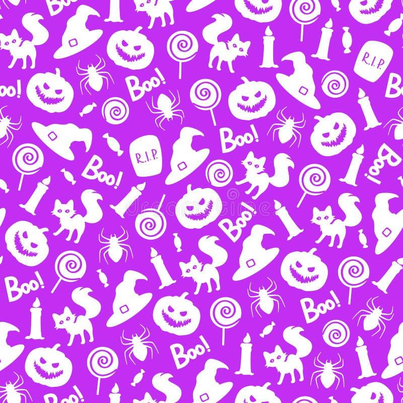 Картина вектора безшовная с элементами хеллоуина на пурпурной предпосылке стоковое изображение