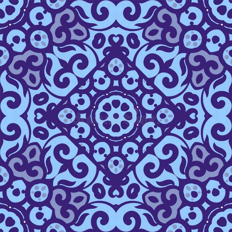 Картина вектора безшовная с ярким голубым орнаментом Плитка в восточном стиле Орнаментальный tracery шнурка Оформление богато укр бесплатная иллюстрация