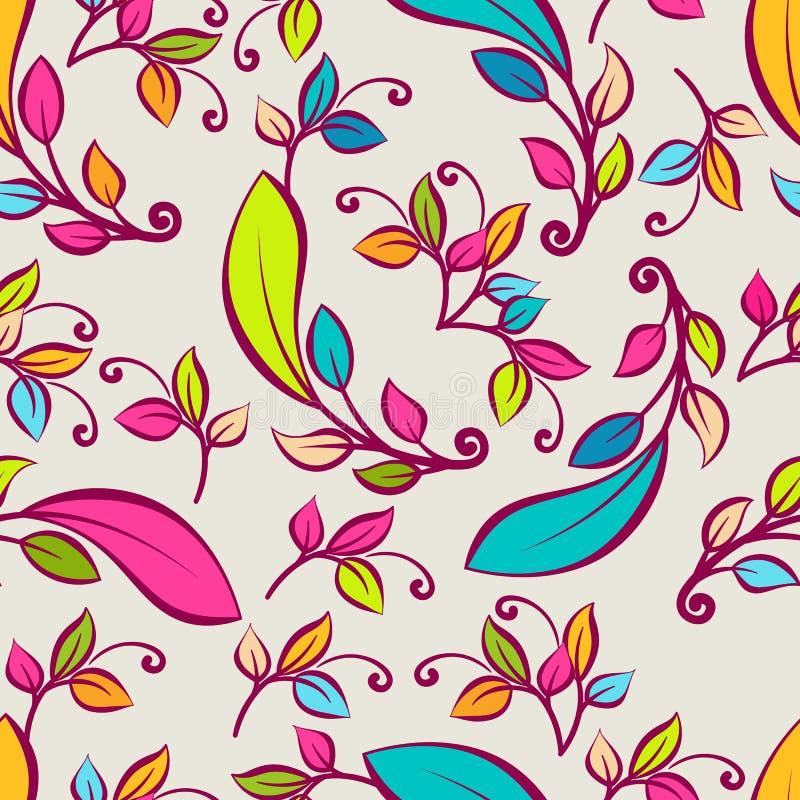 Картина вектора безшовная с multicolor декоративными листьями Vecto иллюстрация штока