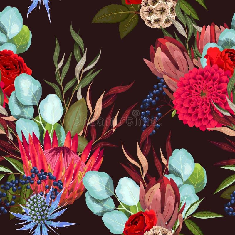 Картина вектора безшовная с protea и растительностью бесплатная иллюстрация