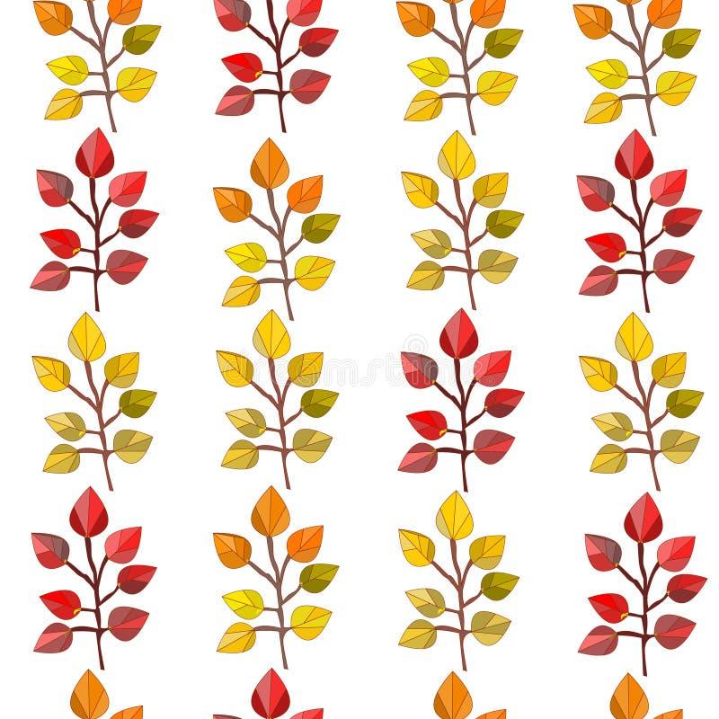 Картина вектора безшовная, текстура, печать с листьями падения на прозрачной предпосылке Цвета осени бесплатная иллюстрация