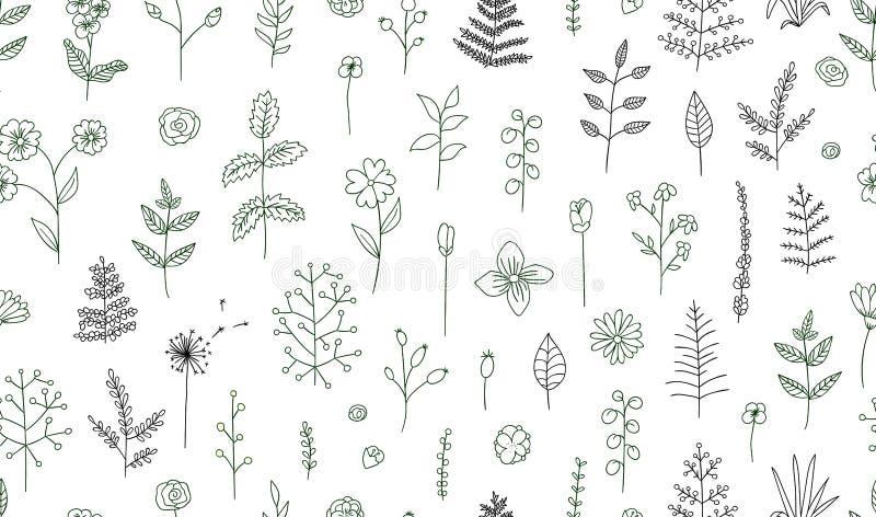 Картина вектора безшовная черно-белых цветков, трав, заводов иллюстрация штока