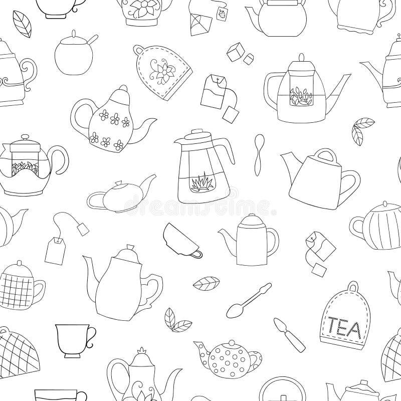 Картина вектора безшовная черно-белых чайников иллюстрация штока