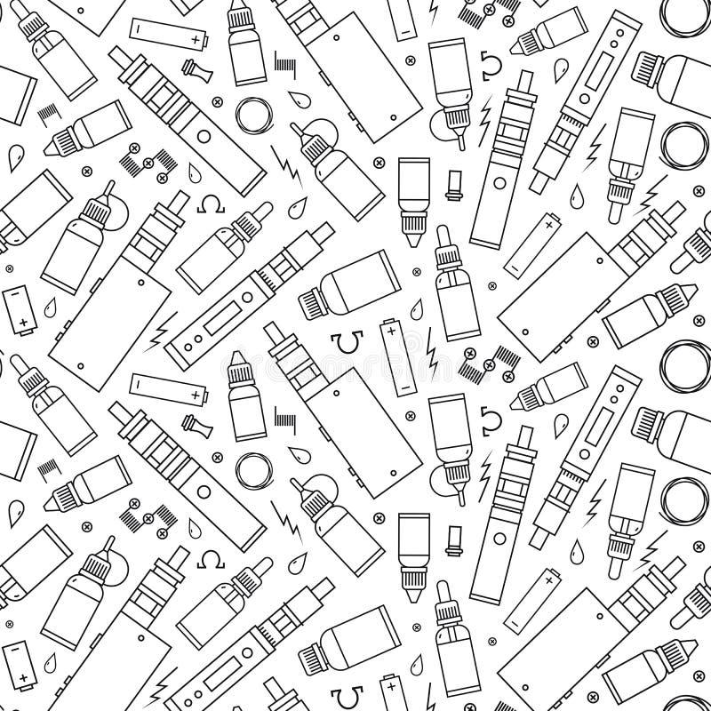 Картина вектора безшовная для магазина vape и обслуживания vape иллюстрация штока