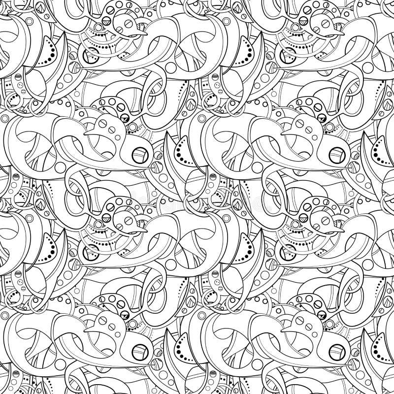Картина вектора безшовная Monochrome абстрактная иллюстрация штока