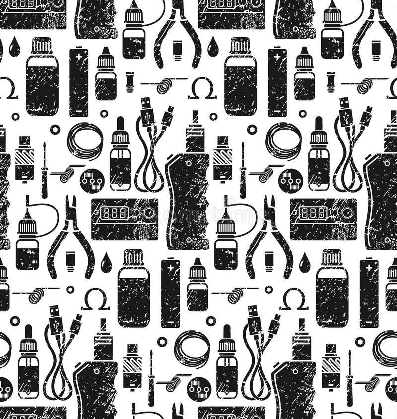 Картина вектора безшовная vape и аксессуаров бесплатная иллюстрация