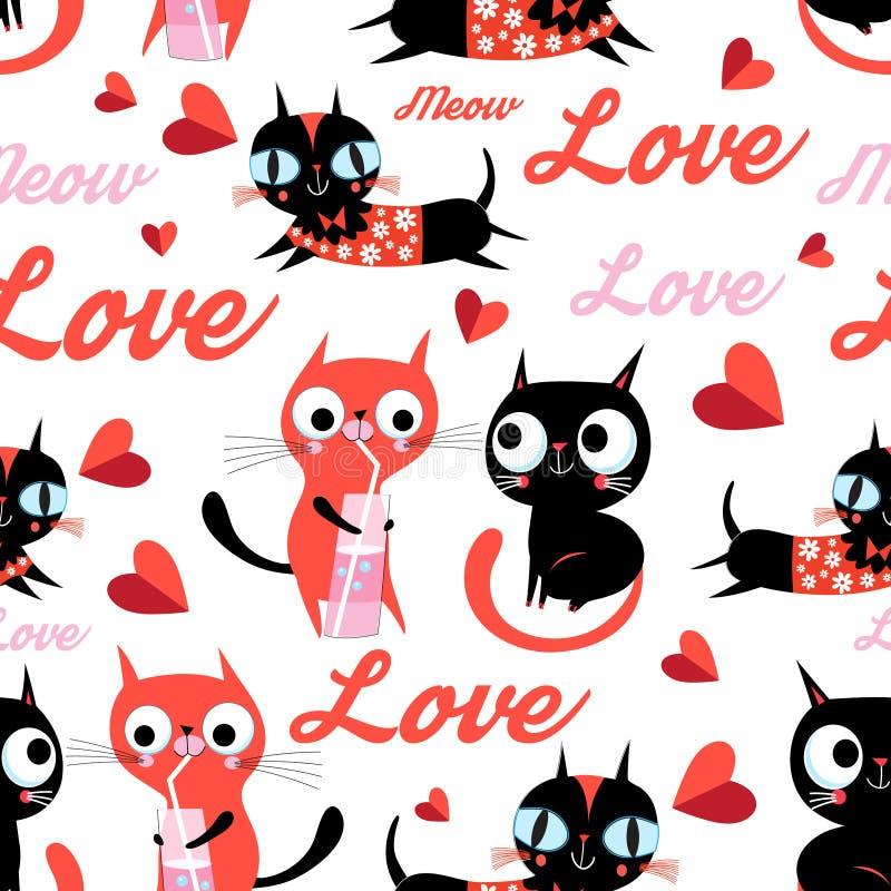 Картина вектора безшовного мультфильма смешная котов в любов иллюстрация штока