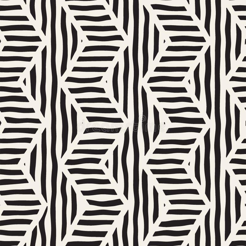Картина вектора безшовной нарисованная рукой Зигзаг и линии нашивки грубые конструкция предпосылки соплеменная Этническая текстур иллюстрация вектора