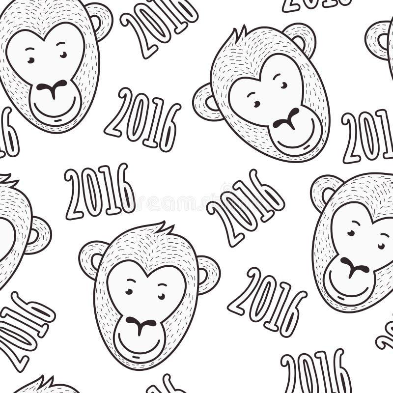 Картина вектора безшовной нарисованная рукой Усмехаясь сторона и текст обезьяны иллюстрация вектора