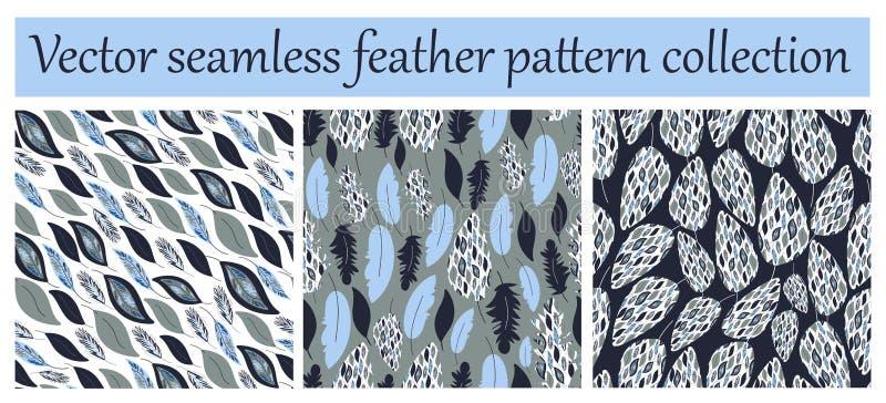 Картина вектора безшовные или собрание текстуры, набор Печати пера бесплатная иллюстрация