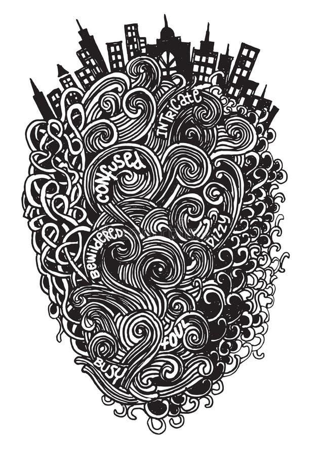 Картина вектора битника нарисованная рукой Абстрактная предпосылка с линией иллюстрация штока