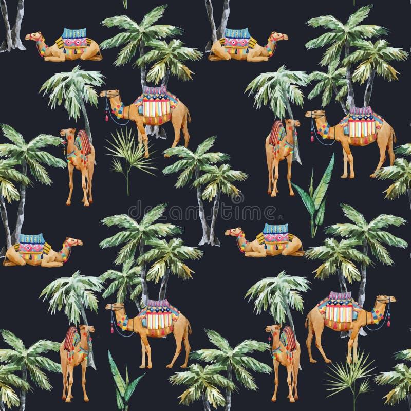 Картина вектора верблюда и ладони акварели бесплатная иллюстрация