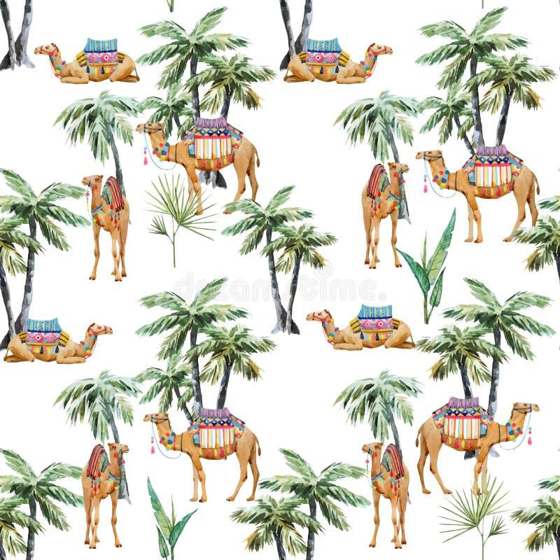 Картина вектора верблюда и ладони акварели иллюстрация вектора