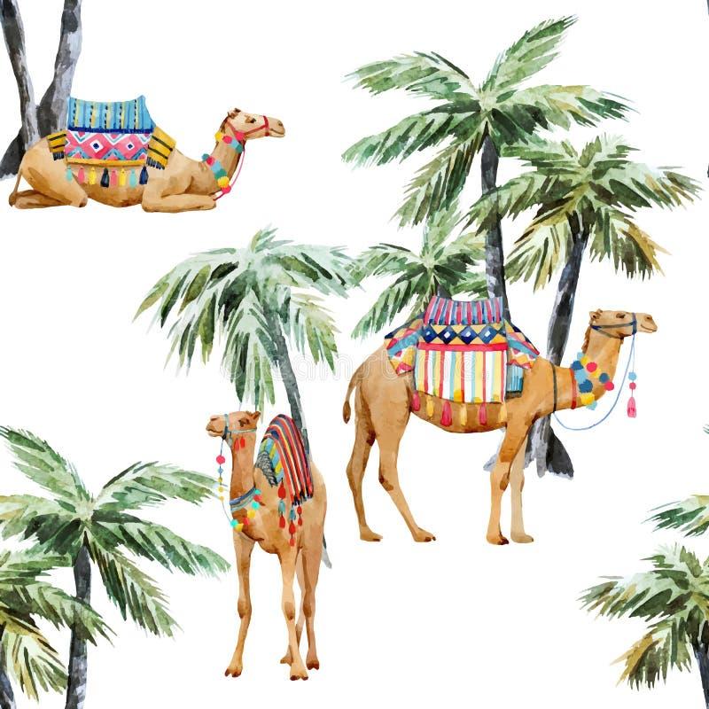 Картина вектора верблюда и ладони акварели иллюстрация штока