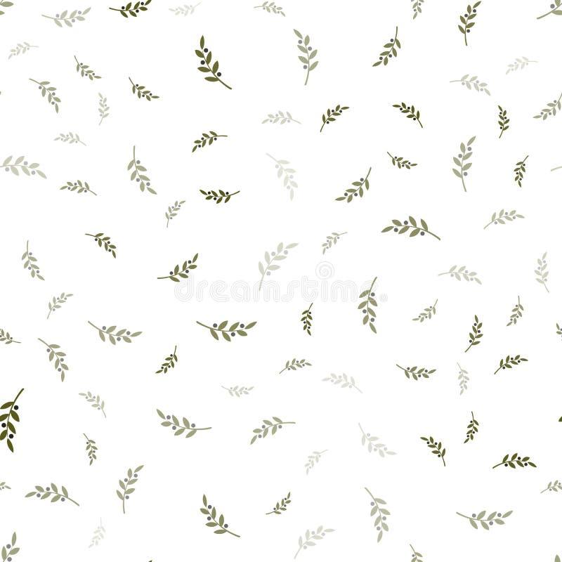 Картина вектора ветви оливок безшовная белизна зеленой оливки dof предпосылки отмелая иллюстрация штока
