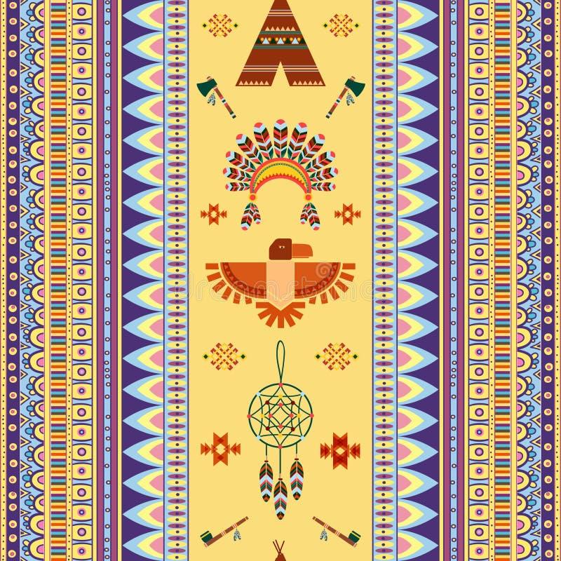 Картина вектора винтажная племенная этническая безшовная для бесплатная иллюстрация