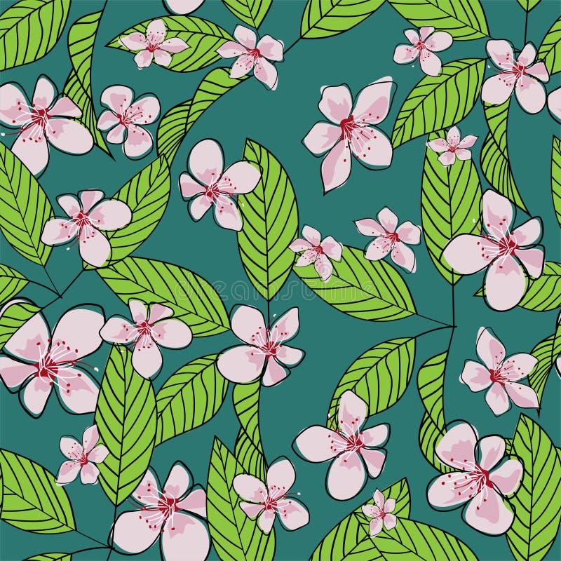 Картина вектора вишневого цвета безшовной руки вычерченная Розовые цветки и зеленые листья с планом на зеленой предпосылке Обои, иллюстрация штока
