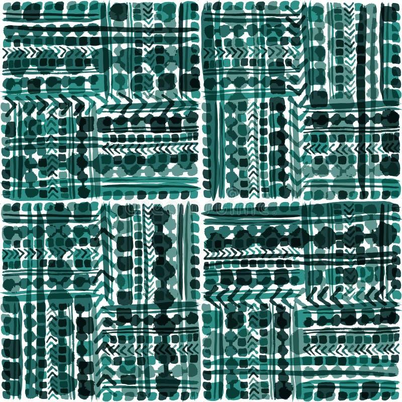 Картина вектора вычерченной племенной заплатки руки безшовная в крутых зеленоватых голубых тонах с прозрачными влияниями верхнего бесплатная иллюстрация