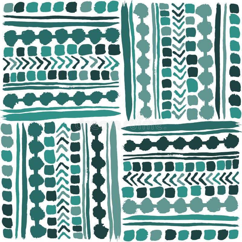 Картина вектора вычерченной племенной заплатки руки безшовная в крутых зеленоватых голубых тонах иллюстрация вектора