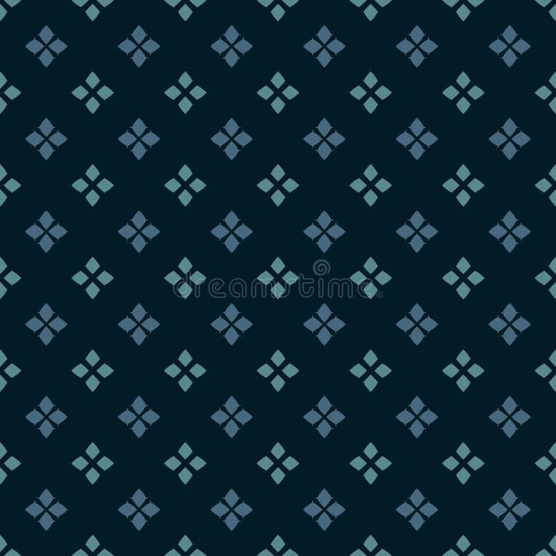 Картина вектора геометрическая безшовная Фольклорный орнамент Цвета Teal, голубых и черных иллюстрация вектора